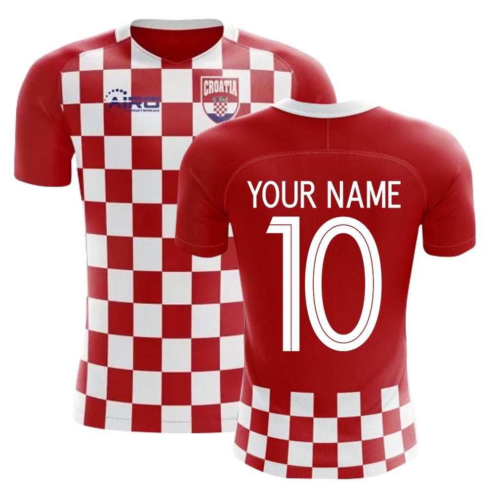 2018-2019 Croatia Flag Concept Football Shirt (Your Name) -Kids