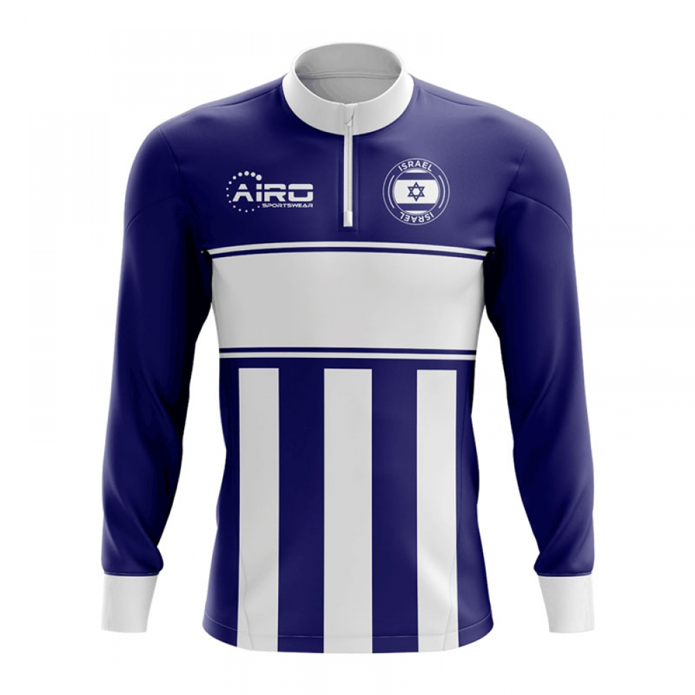 Israel Concept Football Half Zip Midlayer Top (Navy-White)