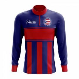 Puerto Rico Concept Football Half Zip Midlayer Top (Blue-Red)