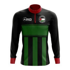 Palestine Concept Football Half Zip Midlayer Top (Black-Green)