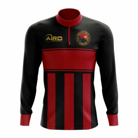 3e8dcb37e Papa New Guinea Concept Football Half Zip Midlayer Top (Black-Red)