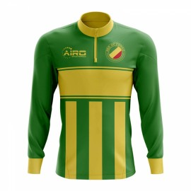 Republic of Congo Concept Football Half Zip Midlayer Top (Green-Yellow)
