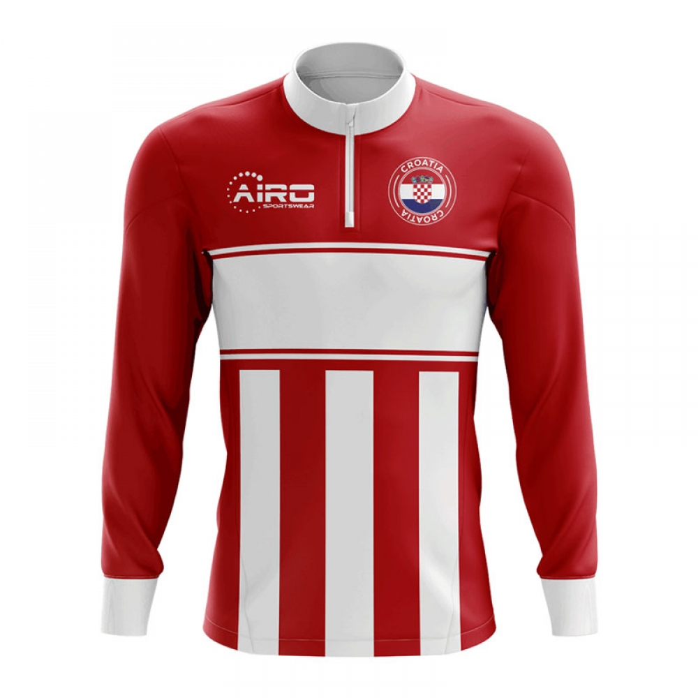 b2a74606ba8 Croatia Concept Football Half Zip Midlayer Top (Red-White)