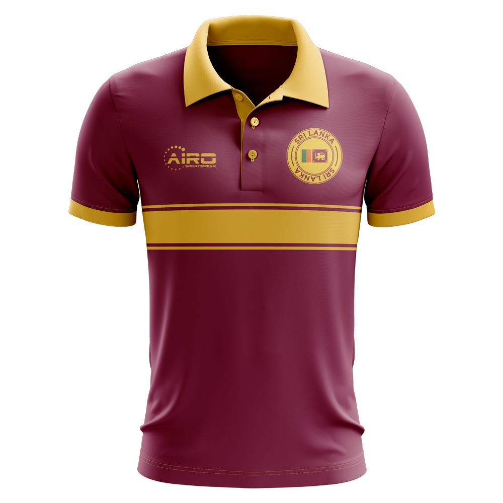 Sri Lanka Concept Stripe Polo Shirt (Maroon)