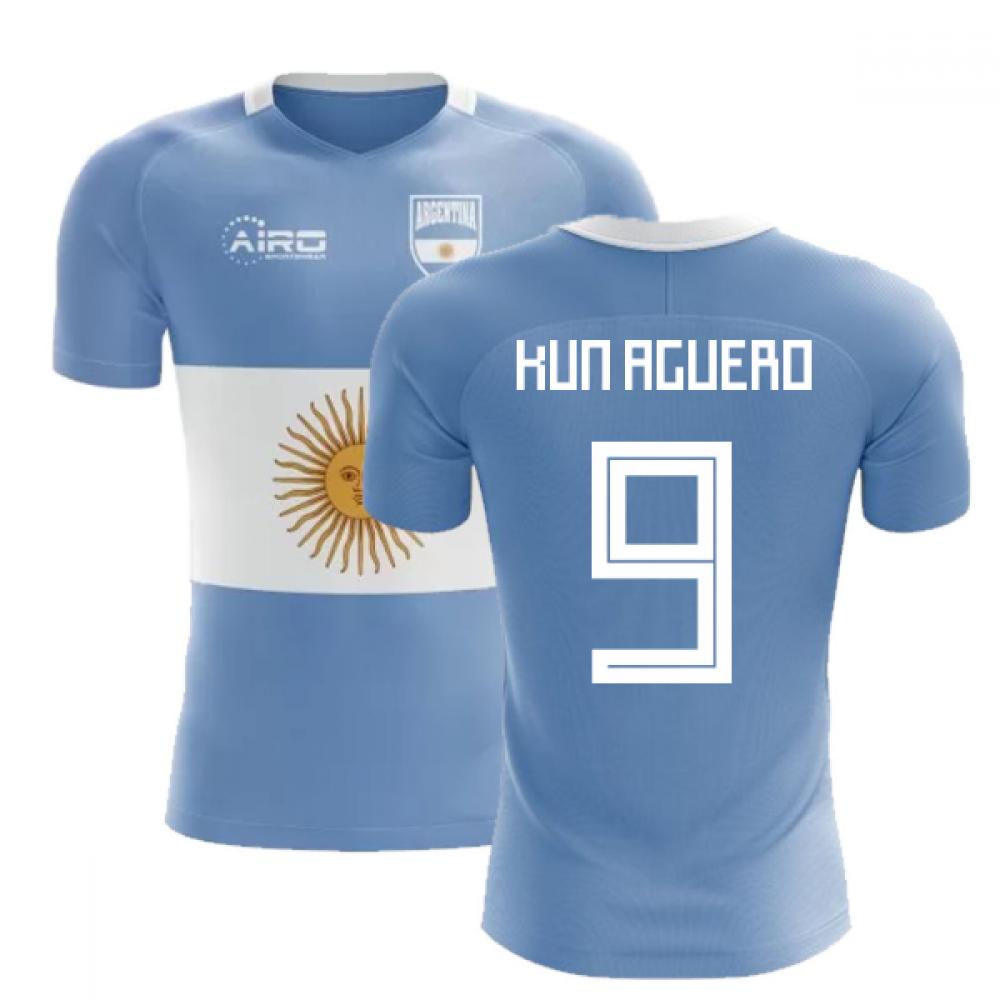 san francisco 30383 40e09 2018-2019 Argentina Flag Concept Football Shirt (Kun Aguero 9)